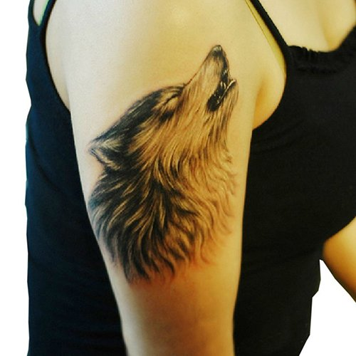 (Bluelans Large Wolf Temporary Tattoos Fashionable Fake Tattoos Removable Waterproof Body Art Tattoo Stickers for Men Women Teens Girls Boys (Wolf))
