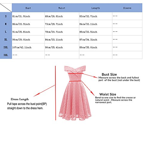 Vintage Cocktail Neck Off Dresses Pink Shoulder Aibwet Lace Dress Formal Swing Boat Floral 1 Women's 5xTpnzR