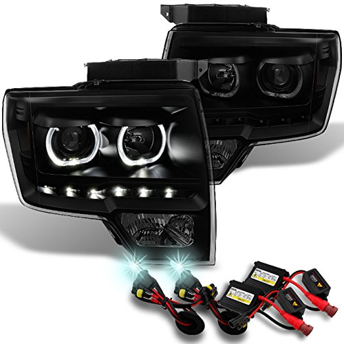 Ford F150 Black SmokeExclusive Halo Projector SMD DRL LED Headlights + Slim Ballast 8000K HID -