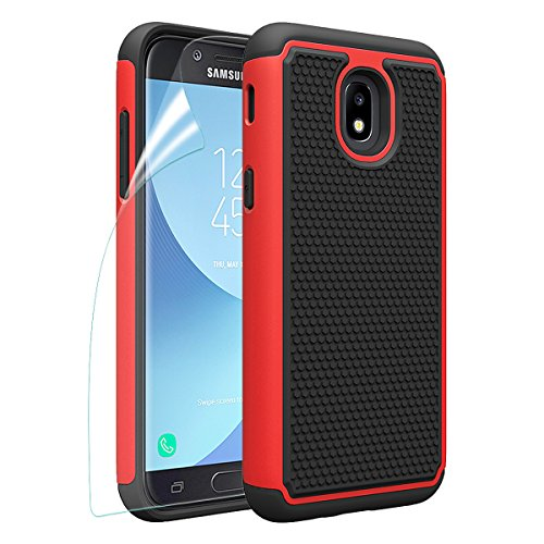 Samsung Galaxy J3 2018/J3 Achieve/J3V J3 V 3rd Gen/J3 Star/Amp Prime 3/Express Prime 3/Sol 3 Phone Case with HD Screen Protector, OEAGO [Shockproof] Hybrid Dual Layer Case Cover (Red)