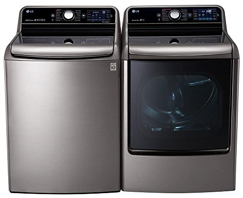LG Graphite Steel Top Load Laundry Pair with WT7700HVA 29″ 5.7 Cu. Ft. Washer and DLEX7700VE 9.0 Cu. Ft. Capacity Electric Dryer