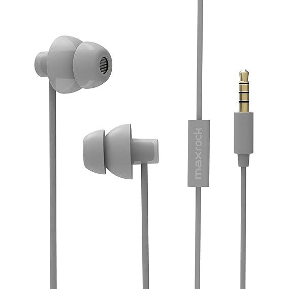 9eac39206911b8 MAXROCK Sleeping Headphones, in-Ear Soundproof Earplug Soft Earbuds with  Mic Noise Cancelling Sleep