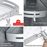 Gricol Bathroom Shower Shelf Triangle Wa Caddy Space Aluminum Self Adhesive No Damage Wall Mount (Silver)