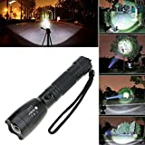 VANKER 3000lm Flashlight XM-L T6 LED Zoom Military Rechargable 18650 Battery Super Bright Torch