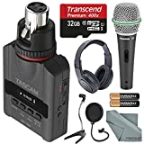 Tascam DR-10X Plug-On Micro Linear PCM Recorder (XLR) W/ Deluxe Accessory kit Samson microphone, Headphones, 32GB Micro SD Card, FiberTique Cleaning Cloth and more