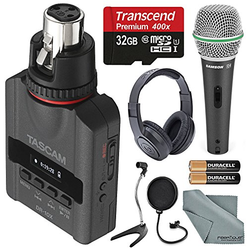 Tascam DR-10X Plug-On Micro Linear PCM Recorder (XLR) W/ Deluxe Accessory kit Samson microphone, Headphones, 32GB Micro SD Card, FiberTique Cleaning Cloth and more by Photo Savings