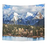 TOMPOP Tapestry Beautiful Mountain Landscape in Colorado Rocky United States Winter Home Decor Wall Hanging for Living Room Bedroom Dorm 50x60 Inches