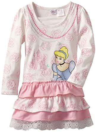 Disney Little Girls' Long Sleeve Cinderella Ruffle Dress, Beige, 5
