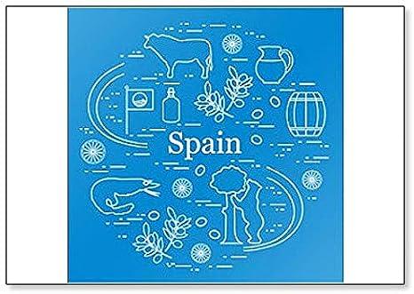 Imán para nevera con ilustración de varios símbolos de España: Amazon.es: Hogar
