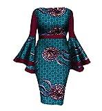Women Dashiki Flare Sleeve African Print Cotton Club Cocktail Gowns 5 2XL