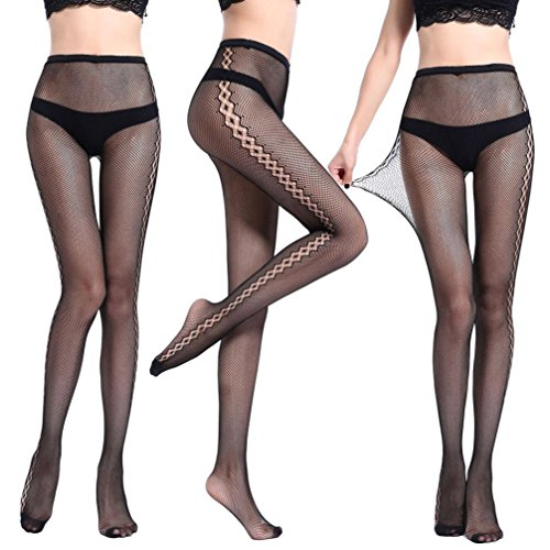 Fishnet Nylon Suspender (ManxiVoo Sexy Fishnet Tights, Womens Black Lace Tights Suspender Pantyhose Stretchy Thigh-High Stockings (M, Black))