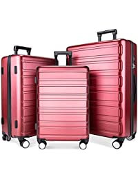 Luggage Sets, SHOWKOO 3 Piece Polycarbonate Durable Hardshell & Lightweight hardside Spinner Suitcase Double Wheels for Travel TSA Lock 20 carry on in24in28in Red Wine