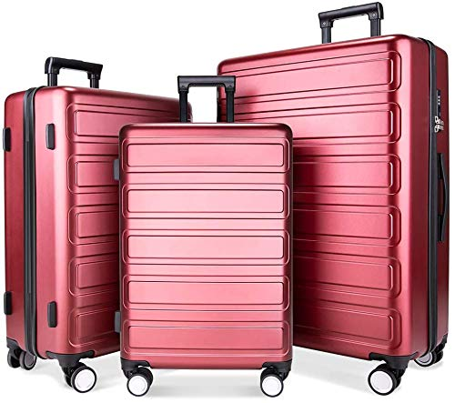Luggage Sets, SHOWKOO 3 Piece Polycarbonate Durable Hardshell & Lightweight hardside Spinner Suitcase Double Wheels for…