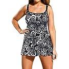 Lovaru Women's Plus Size 2 Pieces New Print Empire Waist Bikini Swimdress Set