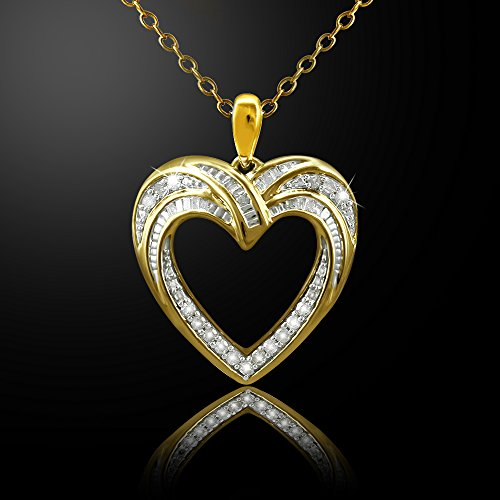 Christmas Gifts Pendant Necklace Earring Set For Women: .925 Sterling Silver Real Baguette Round Diamonds Yellow Plating with Heart Shaped Design ( 0.25cttw IJ I2I3 Clarity) by Store Indya (Image #2)