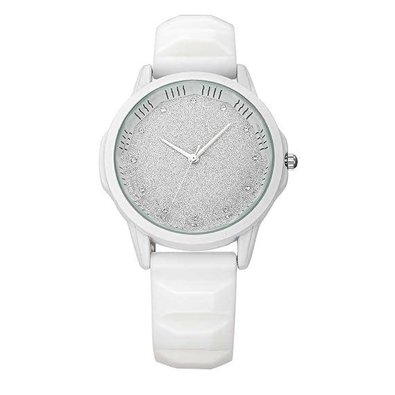 Relojes Pulsera Único Rhinestone Brillante Dial Esmerilado Cuarzo Relojes Mujer Correa de Silicona Mate Deportivo