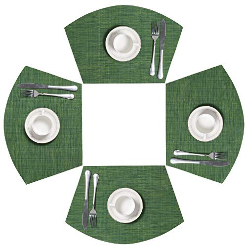 SHACOS Round Table Placemats Set of 4 PVC Wedge Placemat Non Slip Woven Vinyl Table Mats Wipe Clean (4, Seaweed Green)