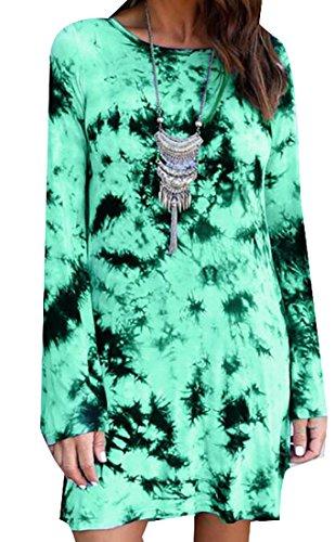 (Esast Womens Cottom Long-Sleeved Tie-Dye Printing Backless Slim Fit Mini Dress Green L)
