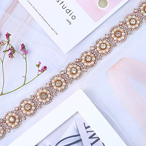Rose Gold Pearls Bridal Wedding Dress Sash Belt Applique with Crystals Rhinestones Decorations Handcrafted Sparkle Elegant Thin Sewn or Hot Fix for Women Gown Evening Prom Clothes