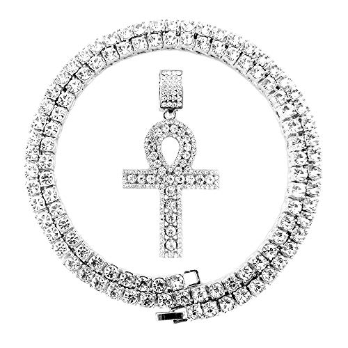 HH Bling Empire Mens Iced Out Hip Hop Gold Artificial Diamond Ankh Cross Pendant cz Tennis Chain 22 Inch (Silver Tennis & Ankh H)
