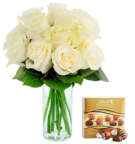 KaBloom Bouquet of 12 Fresh Cut White Roses (Long Stemmed)
