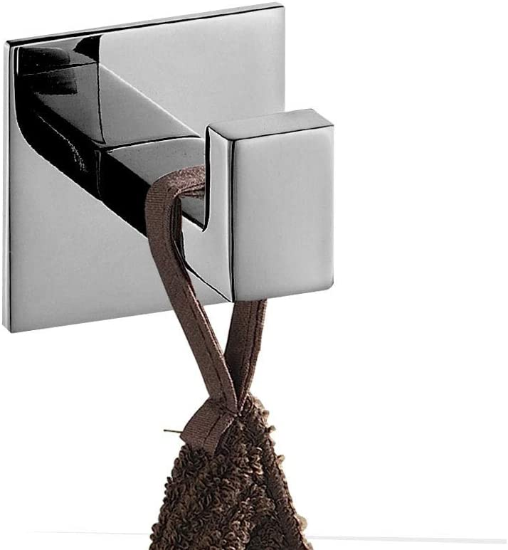 Melairy Self Adhesive 304 Stainless Steel Bathroom Square Towel Hook Matte Black Finish Coat Hat Door Hook Hanger Bathroom Accessories,No Screw Need (Chrome) Chrome