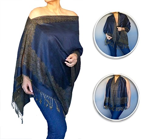 Plus Size Shawl Wrap Women's Navy Blue Poncho Pashmina Scarf By ZiiCi