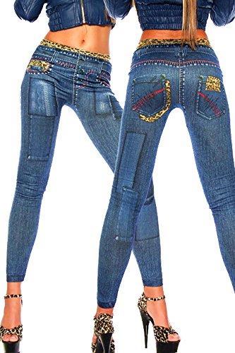 New Stylish Denim Look Ripped Faux Jean Leggings Tights Pants