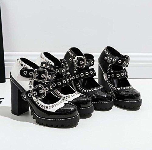 Round 10 Dress Shoes Eu Shoes Shoes Handsome Punk Jane Heel Match White Women 5cm Rivets Mary Heels Toe High Size Shoes 41 Court Pump Chunly Color 35 6HBdvxqdw