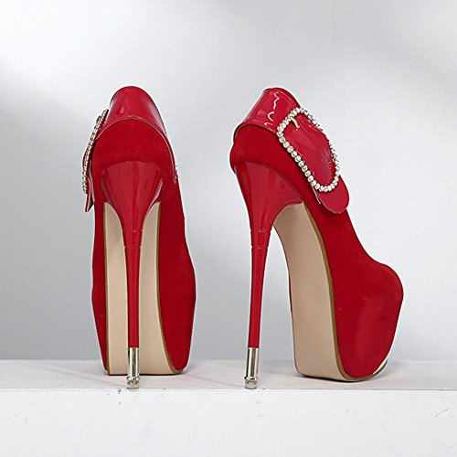 Rhinestones Shoes Red Toe Easemax Pumps Platform Stiletto Heel High Elegant Womens Round Frosted qwpSg