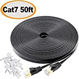 Jadaol Cat 7 Ethernet Cable 50 ft Shielded (STP), High Speed Solid Flat Internet Lan Computer patch cord, faster than Cat5e/Cat5/cat6, Durable Rj45 Cat7 network Wire for Router, Modem, Xbox, PS- Black