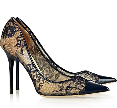 Evening Mesh Women's Toe Party Black Dress Floral Sexy Shoes Stiletto Pointed TDA n4ZwqOaw