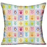 HAIXIA Kids Cartoon Cute Owls Fun Animal Love Childrens Art Nursery Play Birds Purple Yellow Pink Bedroom Decor Throw Pillow Cover 18'' X 18''inch Double Side Print