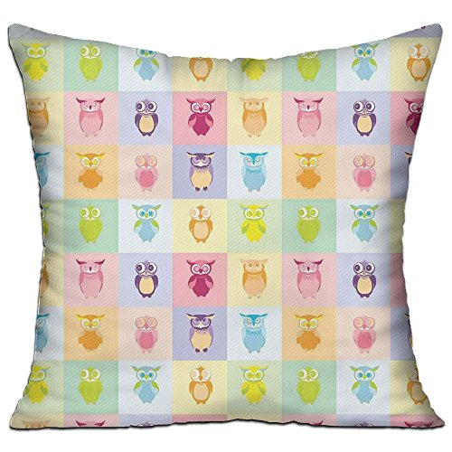 HAIXIA Kids Cartoon Cute Owls Fun Animal Love Childrens Art Nursery Play Birds Purple Yellow Pink Bedroom Decor Throw Pillow Cover 18'' X 18''inch Double Side Print by HAIXIA