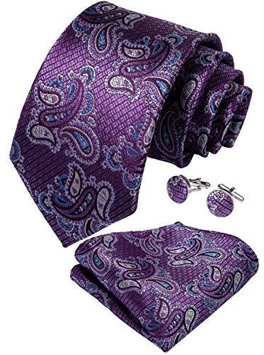 (DiBanGu Men's Paisley Tie Pocket Square Woven Purple Tie Handkerchief Cufflink Set Wedding)