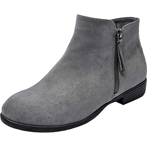 - Luoika Women's Wide Width Ankle Booties - Low Flat Heel Side Zipper Round Toe Suede Comfy Boots.(180906,Grey,10)