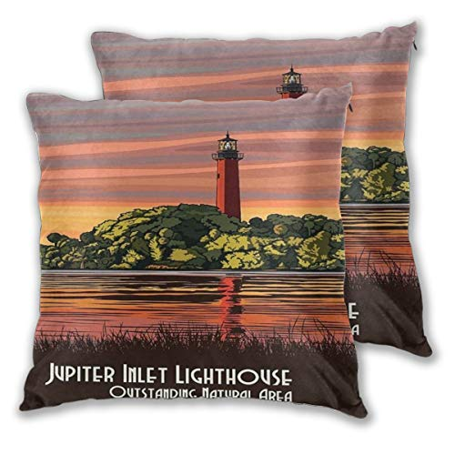 Natural Accent Outdoor Lighthouse (2 Pairs Florida Jupiter Lighthouse Travel Poster Art Print Throw Pillow Home Decor Couch Cushion Case Decorative Accent Pillow Case Custom Pillow Covers Pillowslip Cushion Cases with Zipper)