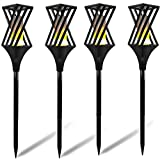 Solar Torch Lights, Waterproof Flickering Flames Torches Lights Outdoor Spotlights Landscape Decor Lighting Dusk to Dawn Auto On/Off Security Torch Light for Yard Driveway -4 Pack, 1 Years Warranty