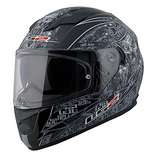 Gray Motorcycle Helmet (LS2 Stream Anti-Hero Full Face Motorcycle Helmet With Sunshield (Black/Gray, X-Large))