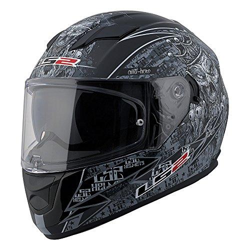 (LS2 Stream Anti-Hero Full Face Motorcycle Helmet with Sunshield (Black/Gray, Medium))