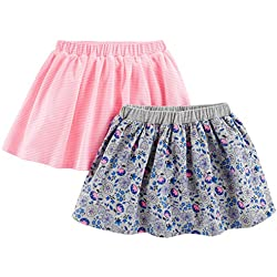 Simple Joys by Carter's Baby Girls' Toddler 2-Pack Knit Scooters (Skirt with Built-in Shorts), Pink Stripe, Gray Print, 3T