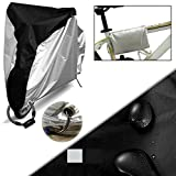 OFKPO 190T Silk Polyester Waterproof Dust Bike Cover Outdoor Bicycle Covers Rain Sun Dust Wind Proof With Lock Hole For Mountain Bike (Black And Silver)