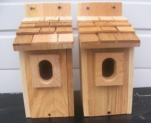 2 Bluebird House with Cedar Shake Roof..peterson Oval Opening..cedarnest Cedar Roof Birdhouse