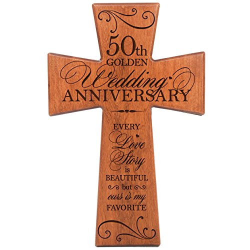 50th parent wedding anniversary cherry wood wall cross for Gifts for 50 year wedding anniversary