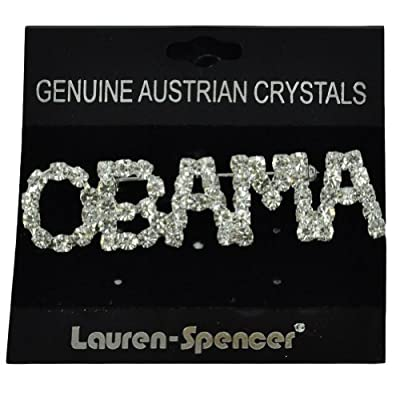 President Barack Obama Lapel Pin Brooch Lead Free Genuine Austrian Crystals