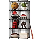KOUSI Storage Cubes Wire Grid Modular Metal Cubbies Organizer Bookcases and Book Shelves Origami MultiFuncation Shelving Unit, Capacious & Customizable, Black, 8 Cubes