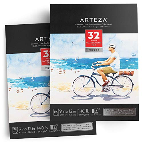 ARTEZA 9x12 Expert Watercolor Pad, Pack of 2, 64 Sheets (140lb/300gsm), 100% Cotton, Cold Pressed, Acid Free Paper, 32 Sheets Each, Ideal for Watercolor Techniques and Mixed Media