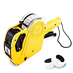Mcupper-MX5500 EOS 8 Digits Price Tag Gun Labeler Labeller Included Labels & Ink Refill (Yellow)
