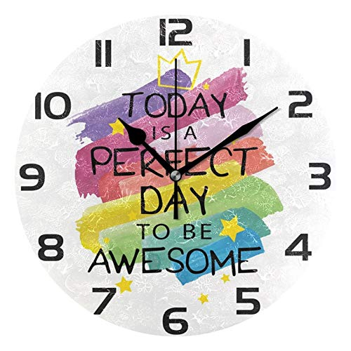 Alaza Inspirational Motivational Quote Round Acrylic Wall Clock Silent Non Ticking Oil Painting Home Office School Decorative Clock Art