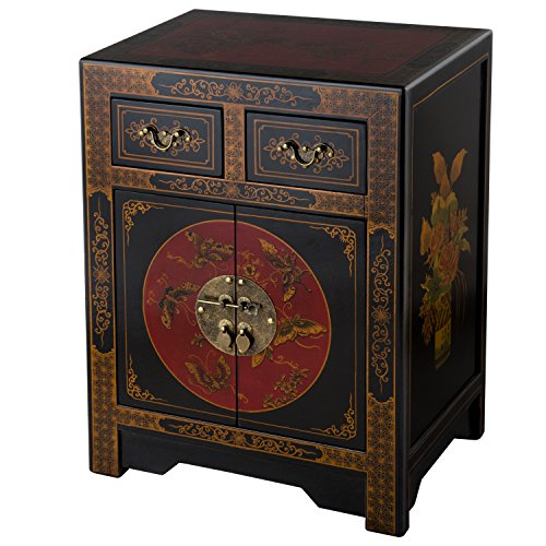 NES Handmade Furniture Antique Style Black End Table with Nature Motifs, Black, Red and Gold